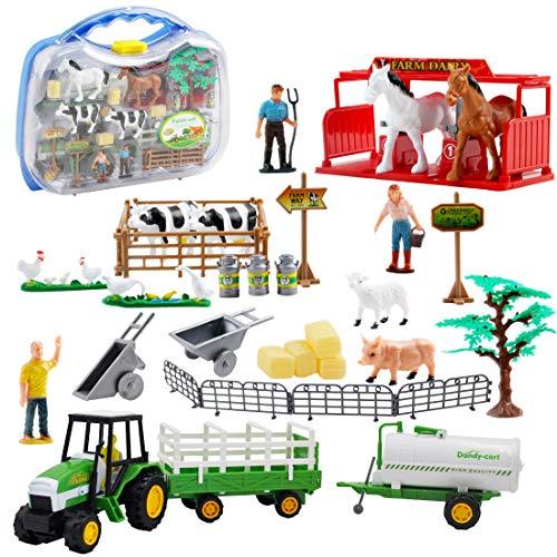 deAO Juego de Granja con Vehículos a Fricción Conjunto 2en1 Incluye Tractor, Figura de Granjero, Animales y Accesorios de Rancho