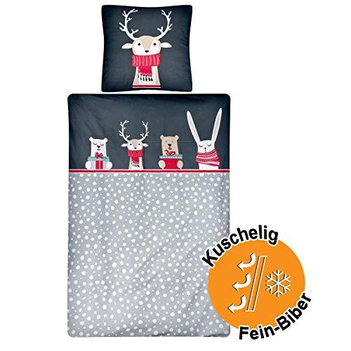 Aminata Kids Premium Biber-Bettwäsche-Set Elch-Motiv Weihnachten 135x200 cm + 80x80 cm, Baumwolle, Reißverschluss, Kinderbettwäsche mit Hirsch-Motiv, warm, Sterne, grau, Waldtiere, Winter-Motiv