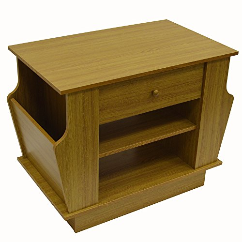 WATSONS COMPANION - Storage Side/End Table with Magazine Rack - Oak