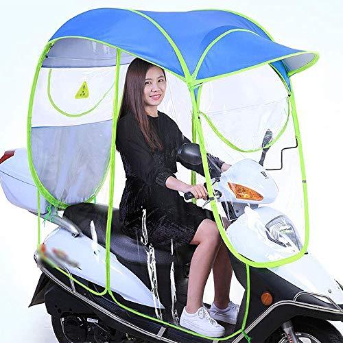 LRKZ Paraguas Universal para Bicicleta, eléctrico, Totalmente Cerrado, Plegable, Impermeable, Parasol para Lluvia (Tipo con Espejo)