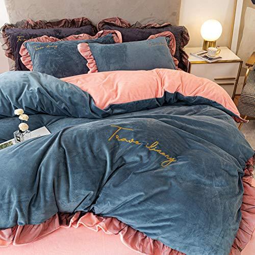 Set de Fundas Reversibles para edredón,Juego de cuatro piezas de invierno de doble cara más terciopelo, ropa de cama de gamuza color leche, cama de estudiante de franela de cristal, cama doble indivi