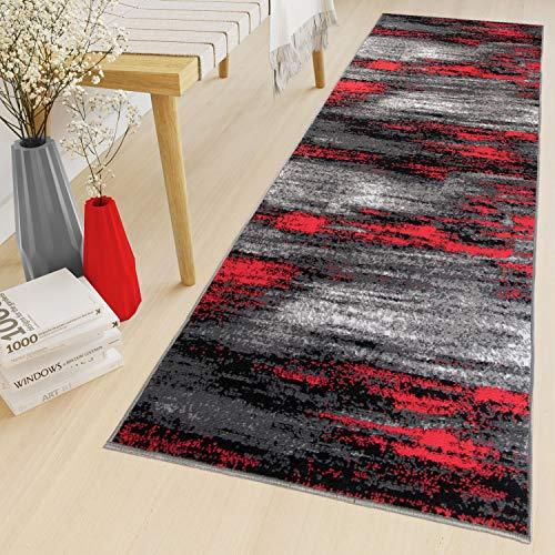 Tapiso Maya Teppich Läufer Meterware Kurzflor Wohnzimmer Flur Küche Modern Brücke Grau Rot Schwarz Verwischt Meliert Design ÖKOTEX 70 x 140 cm