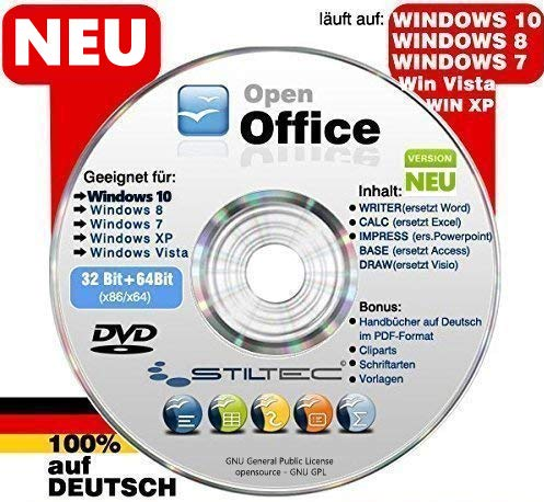 Open Office Paket CD/DVD TEXTVERARBEITUNG / SCHREIBPROGRAMM KOMPATIBEL zu Word & Excel® -Für Windows 10 ® Windows 7®, 8® ,XP® & Vista®