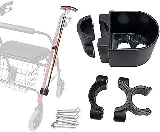 Rollator Walker Cane Holder, Adjustable Crutch Bracket for Wheelchairs, Rollators, Knee Scooters