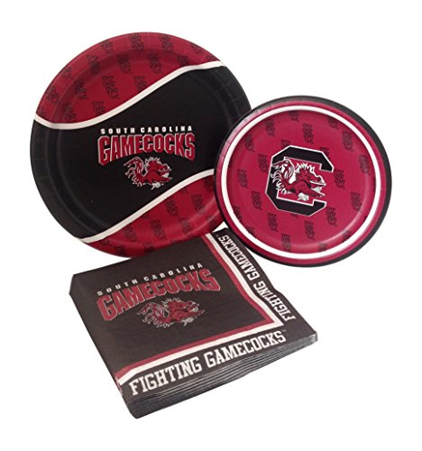 University of South Carolina Gamecocks Party Supplies Themed Paper Plates and Napkins Serves 8 Guests