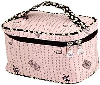 eDealMax plástico señora Crystal Accent Imprimir viaje cremallera estuche de maquillaje cosmético rosa claro Bolsa