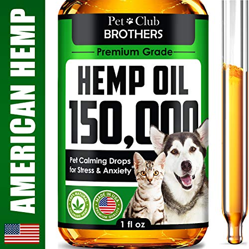 Hemp Oil for Dogs & Cats - 150,000 mg - Effective Premium Formula - Grown & Made in USA - Supports Hip & Joint Health - Natural Relief for Pain and Stress, Separation Anxiety - Pet Omega 3, 6 & 9 Oil
