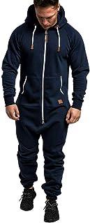 Men's Jumpsuit Autumn Winter Casual Hoodie Onesies Zipper Long Playsuit One Piece Jogging Tracksuit