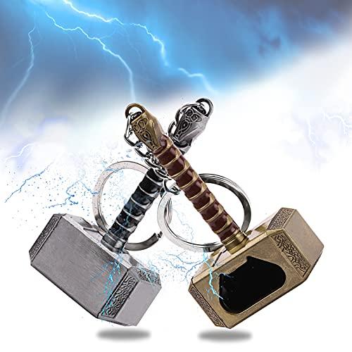 Porte-clés Décapsuleurs Mjolnir,2Pcs Marteau de Thor Décapsuleur,Mini Bière Ouvre-bouteilles,Cadeau pour Les amateurs de Marvel et les amateurs de bière