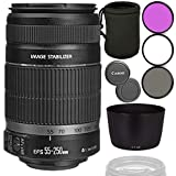 Canon EF-S 55-250mm f/4-5.6 is II Lens with ET-60 Replacement Bayonet Lens Hood Bundle with Lens Filters & Lens Pouch (White Box, New)