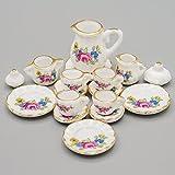 Odoria 1/12 Miniatura 15PZ Conjunto de Tazas de Té Porcelana con Rosa Rosada Cocina Accesorio para Casa de Muñecas