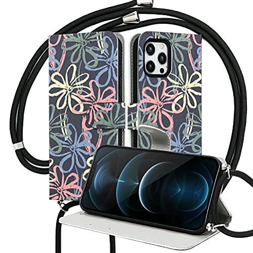 Pnakqil Funda con Ajustable Cuerda con Apple iPhone 11 Pro MAX 6,5',Carcasa TPU Suave Silicona Case con PU Cuero Colgante Collar Correa de Cuello Cadena Cordón Back Cover, Flores de 3 Colores