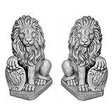 gartendekoparadies.de Figures de Pierre Massive Couple de Lions avec Armoiries Gardien en Pierre reconstituée, résistant au Gel