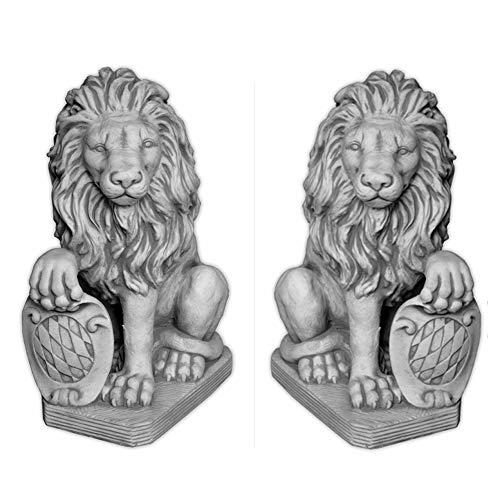 gartendekoparadies.de Massive Steinfiguren Staten Löwen-Paar mit Wappen Torhüter aus Steinguss, frostsicher