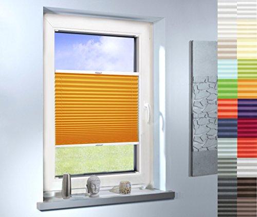 Mass-Gardinen-Shop Plissee nach Maß, hochqualitative Wertarbeit, für Fenster und Türen, alle Größen, Jalousie, Maßanfertigung, Faltrollo (Farbe: Light Orange, Höhe: 91-100cm, Breite: 20-50cm)