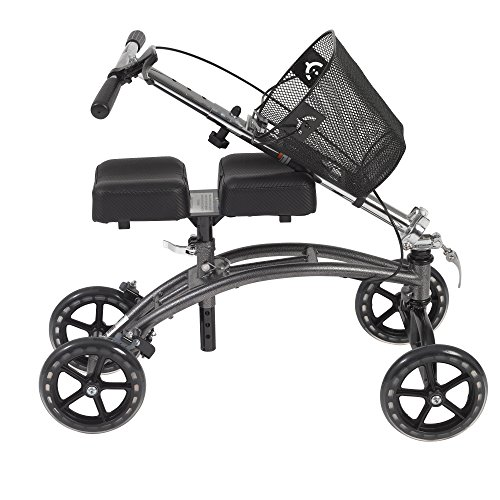 Drive Medical 796 Dual Pad Steerable Knee Walker with Basket, Alternative to Crutches