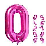 JIASHA 40 Pulgadas Globos de número, número 0-9, Globos de Color Rosa de número, Globos de Papel de Aluminio número no años, Apara el cumpleaños, la Fiesta, la decoración (Rosa roja 0)