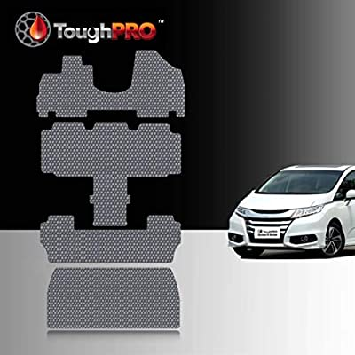 TOUGHPRO Floor Mat Accessories 1st + 2nd + 3rd Row + Cargo Mat Accessories Compatible With Honda Odyssey (7 Passenger) - All Weather -Heavy Duty- Gray Rubber - 2011, 2012, 2013, 2014, 2015, 2016, 2017