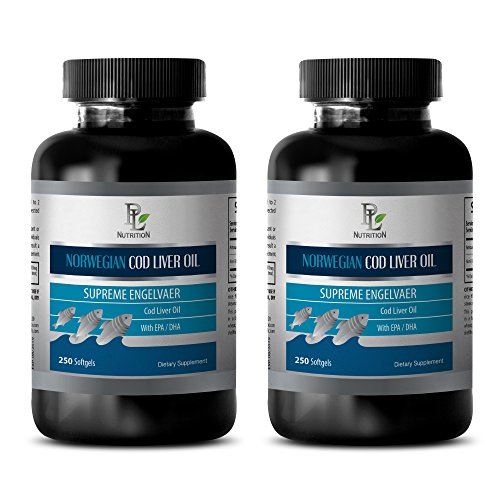 Brain Blood Flow - Norwegian COD Liver Oil with Vitamins A & D3/EPA & DHA - Norwegian Fish Oil Supplement - 2 Bottles 500 Softgels