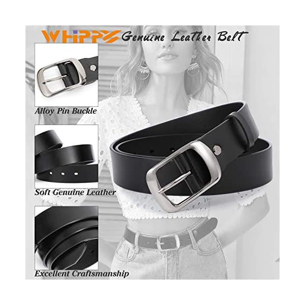 WHIPPY Women Leather Belts with Solid Pin Buckle 3