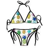 Conjuntos de Bikini para Mujer Impresos piña del Arco Iris, Traje de baño de la Playa del Traje de baño del triángulo