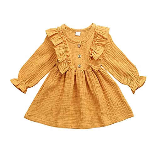 BIVJX Vestidos para niñas de 0 a 5 años de edad, vestido de otoño con volantes de manga larga de algodón y lino, ropa informal cómoda y agradable al tacto (color: amarillo, talla de niño: 3T)