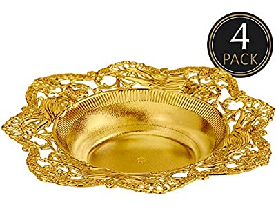IMPRESSIVE CREATIONS Reusable Decorative Serving Dish – Plastic Candy Dish with Elegant Gold Finish – Functional and Vintage Design