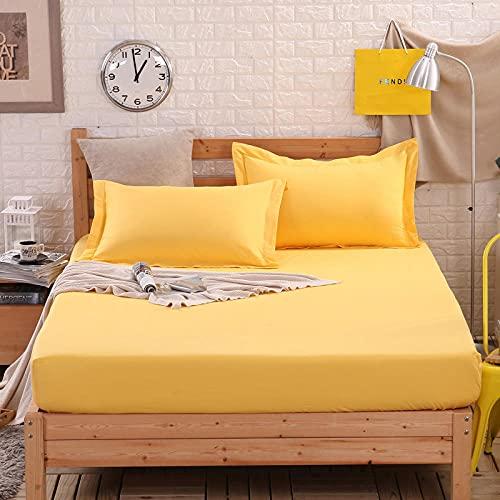 CYYyang Protector de Colchón | Capa Superior de algodón Transpirable Sábana de Cama de Color Puro algodón-Amarillo Brillante_150 * 200cm