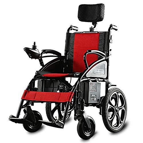 YELLAYBY Hochleistungs-elektrischer Rollstuhl, Faltbarer und Leichter angetriebener Rollstuhl, 360 ¡~ Joystick mit USB-Ladeöffnung, Gewichtskapazität 100kg FDG Hilfsrollstuhl