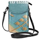Women Small Cell Phone Purse Crossbody,Hawaiian Bungalows With Palm Trees In Paradise Beach Birds Eye View