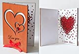 Real Wood Love You Hearts Unique Wedding Valentine's Day Greeting Card...