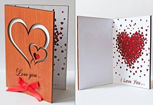 Handmade Real Wood Love You Hearts Unique Wedding Valentines Day Anniversary Greeting Card Cute Valentine Happy Birthday Wooden Gift for Him Man Husband Boyfriend Fiance Her Wife Girlfriend Fiancee e