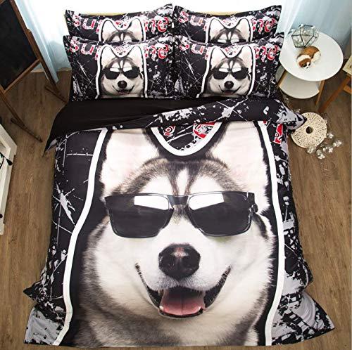 HDBUJ dekbedovertrek, kreukvrij, van polyester, digitale druk 3D Siberische hond met zonnebril, twee bijpassende kussenslopen