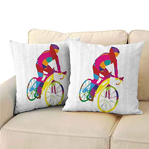 Pillowcase Decorative Modern Decor Rainbow Colored Cyclist Bicycle Sports Spinng Bike Tour De France Themed Image Living Room Sofa Hug Pillowcase 16 inch Pillow Covers,2 Packs Multicolor