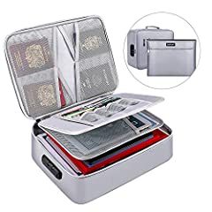 FILE STORAGE BAG SET: The fireproof documents organizer includes a fireproof file storage bag with lock,a fireproof money bag with two pockets,a lock manual. FIREPROOF AND WATER-RESISTANT SAFE: Fireproof file storage bag set are made of double layere...