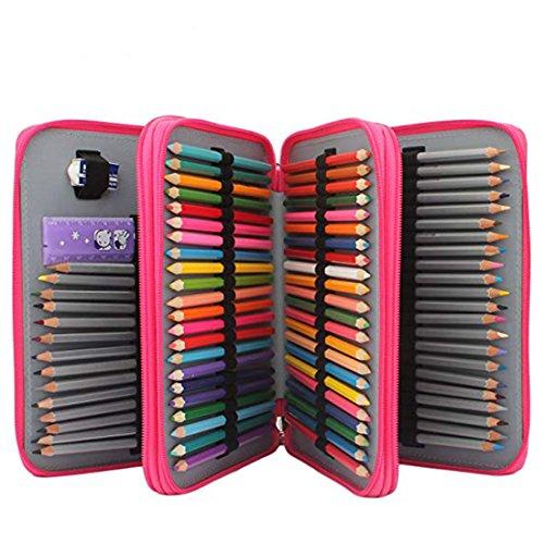 Soucolor 120 Slots Pencil Case PU Leather Handy Pencil Wrap with Zipper Super Large Capacity Pen Bag for Prismacolor Premier Colored Pencils, Crayola Colored Pencils (Rose Red)
