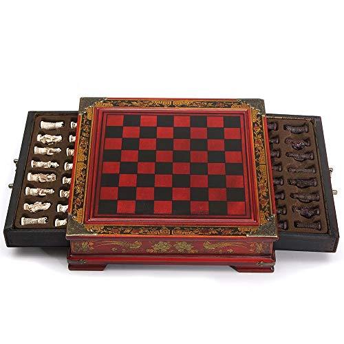 YaGFeng Schachspiel Kinder Erwachsene Schach mit Kaffee Holztisch for Collectibles Geschenk (Color : Red, Size : 26 x 25.5 x 6.5cm)
