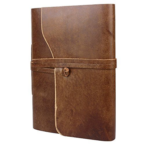 Rustic Town Genuine Leather Photo Album with Gift Box - Scrapbook Style Pages (Large  Brown)