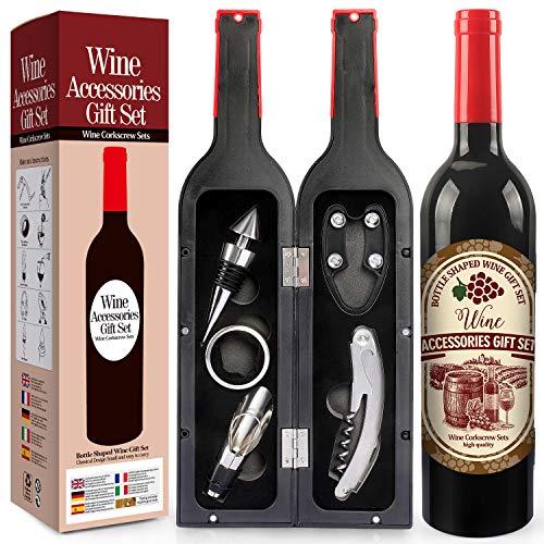 Yobansa Set di Accessori da Vino a Forma di Bottiglia di Vino,Accessori per Il Vino Include cavatappi,Tappo per Vino,versatore per Vino (Bottle 05)