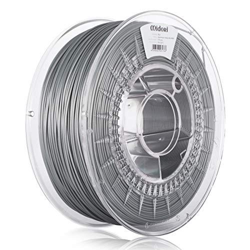 Midori PLA Filament | 3 Stück, 1,75mm 3D-Drucker-Filament 1kg Spule in Aluminium Weiß | Verwicklungsfreies Filament für 3D-Drucker & Stift