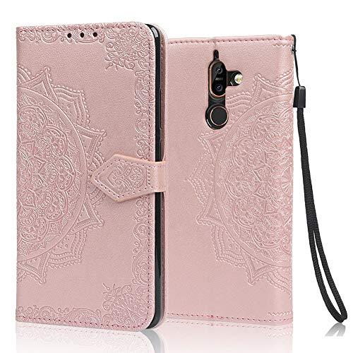 achoTREE Cover Nokia 7 Plus, Flip Caso in Premium TPU Portafoglio Custodia per Nokia 7 Plus, con Slot per Schede & Chiusura Magnetica - Oro Rosa
