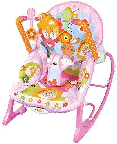 MamaLoes Eco Toys Pink Rabbit Babywippe bis 18 kg mit Vibration und Spielbogen, rosa HC305581