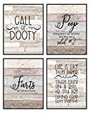 Silly Goose Gifts Bathroom Themed Decor Art Print Wall Art Funny Gift Sets Typography Rustic Unframed Pictures Signs Rules (Call of Dooty)
