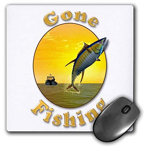 AEMAPE Letras de Gone Fishing con gráfico con Bote de Pesca y Alfombrilla de ratón para atún x