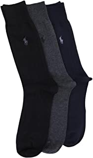 Polo Ralph Lauren Men's 3 Pack Dress Socks Blue/Gray/Black 10-13