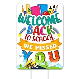 WHATSIGN Back to School Yard Sign 12'x 17' First Day of School Yard Sign for Teachers and Students,School Kindergarten Indoor and Outdoor Decorations,Welcome Back We Missed You