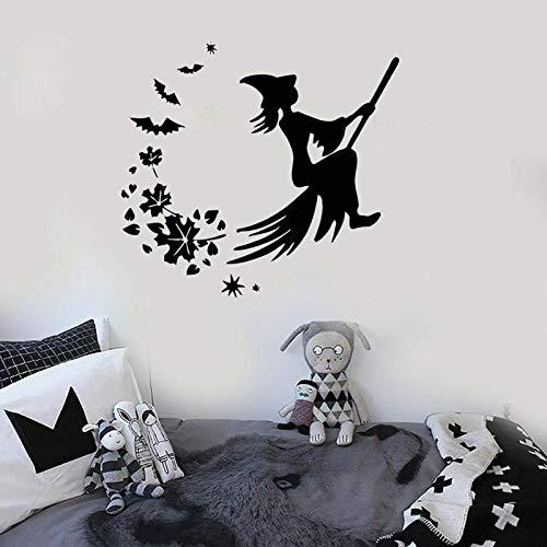 YIMING Calcomanía de vinilo para pared, escoba de bruja de Halloween, hojas mágicas de cuento de hadas, pegatina creativa, dormitorio de niños, guardería, zona para niños, decoración de pared 74x80cm