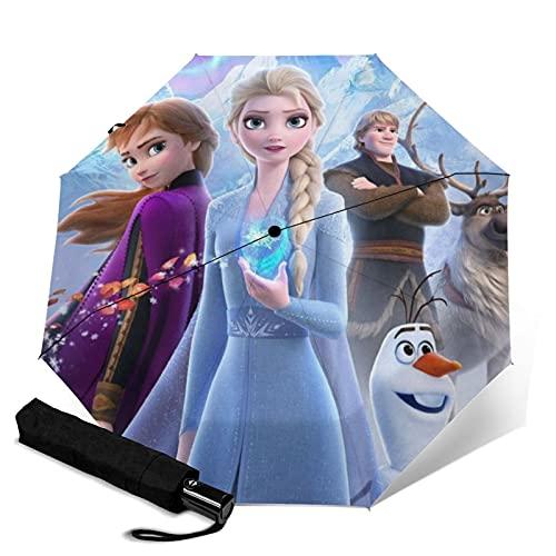 Elsa - Paraguas plegable con diseño de dibujos animados, plegable, automático, cerrado, ligero, compacto, portátil, portátil, para viajes de sol, unisex, diseño de dibujos animados