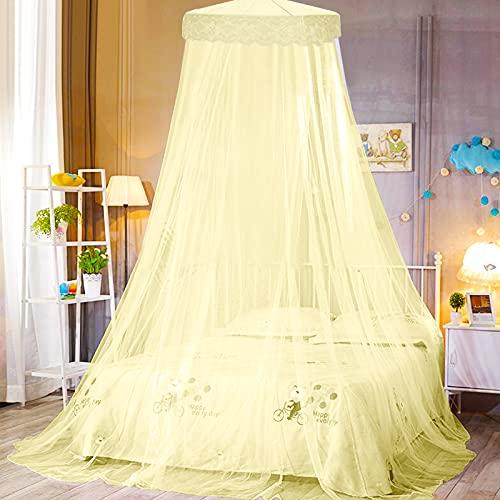 esafio Mosquiteras para Cama Princesa Mosquitero de Dosel, Cama Portátil Mosquitose puede Utilizar para Decorar la Habitación y Prevenir Insectos Altura 250 cm(Amarillo)