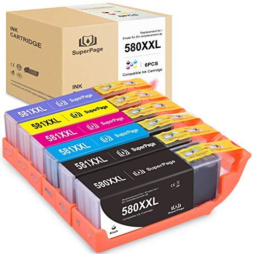 Superpage Kompatibel Canon PGI-580XXL CLI-581XXL 580 581 XXL Druckerpatronen für Canon PIXMA TS6150 TS6151 TR7550 TR8550 TS8150 TS8151 TS8152 TS9150 TS9155,Schwarz/PGBK/Cyan/Magenta/Gelb/Foto Blau